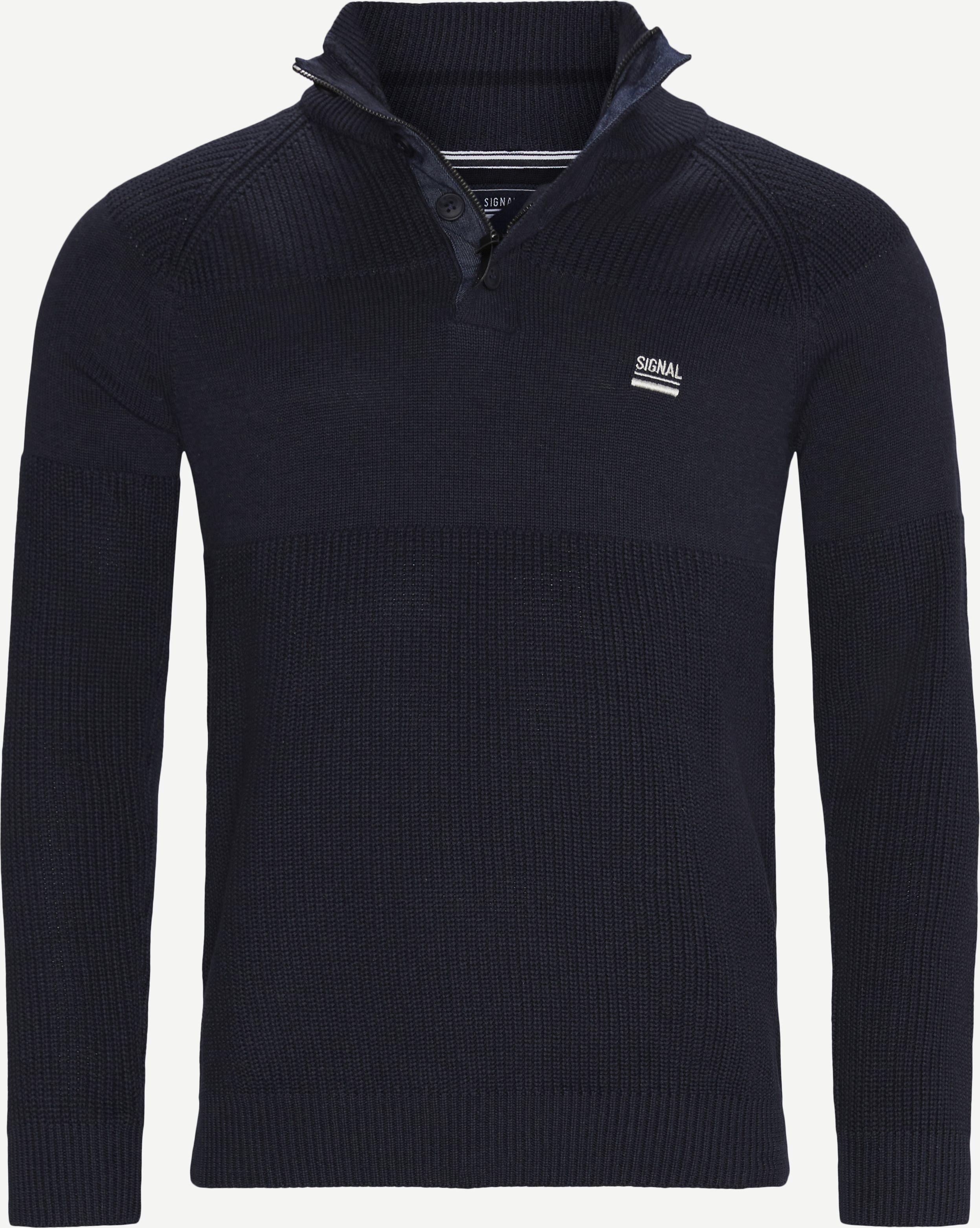 Stan Half-Zip Sweater  - Stickat - Regular - Denim
